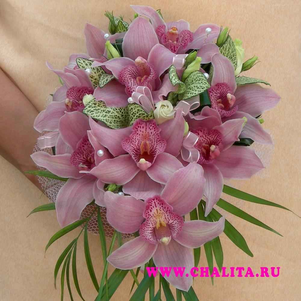 Изобр по > Свадебный Букет из Розовых Орхидей